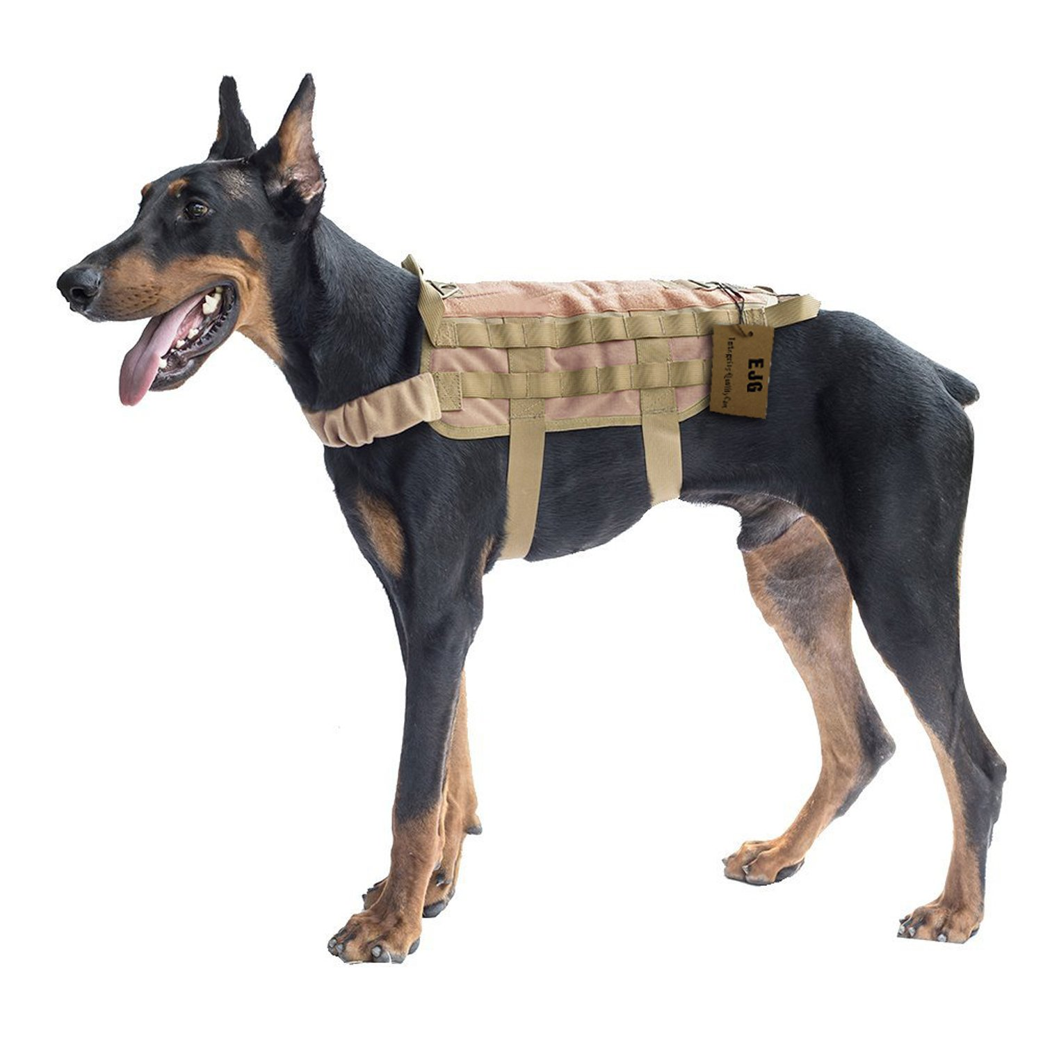 Brown X-Large Brown X-Large Military Tactical Service Dog Training Vest Police Molle Dog Harness Camping Hiking Traveling Nylon Adjustable Coat for Medium Large Dog Brown XL by YJG