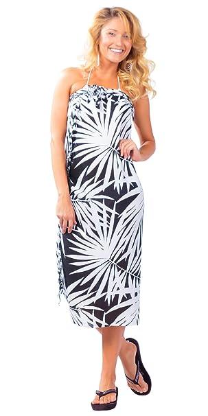 c84bf0fb4a 1 World Sarongs Womens Pareau Hawaiian Palm Tree Cover-Up Sarong in Black  White