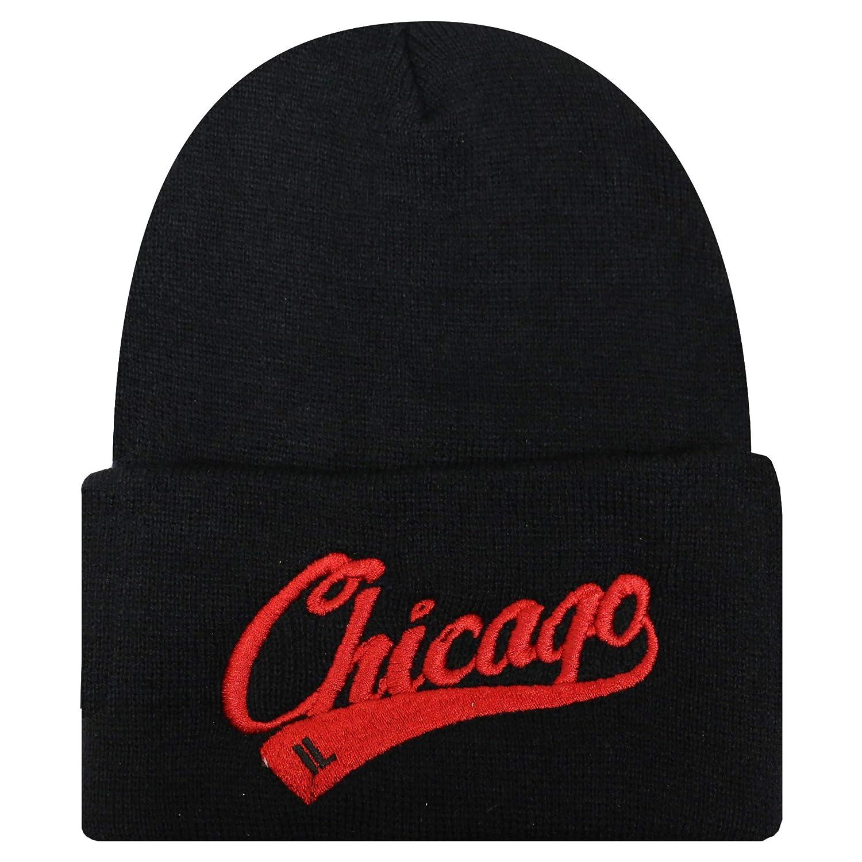 City Hunter Sk901 Chicago Bar Ski Winter Beanie Hat Black//red