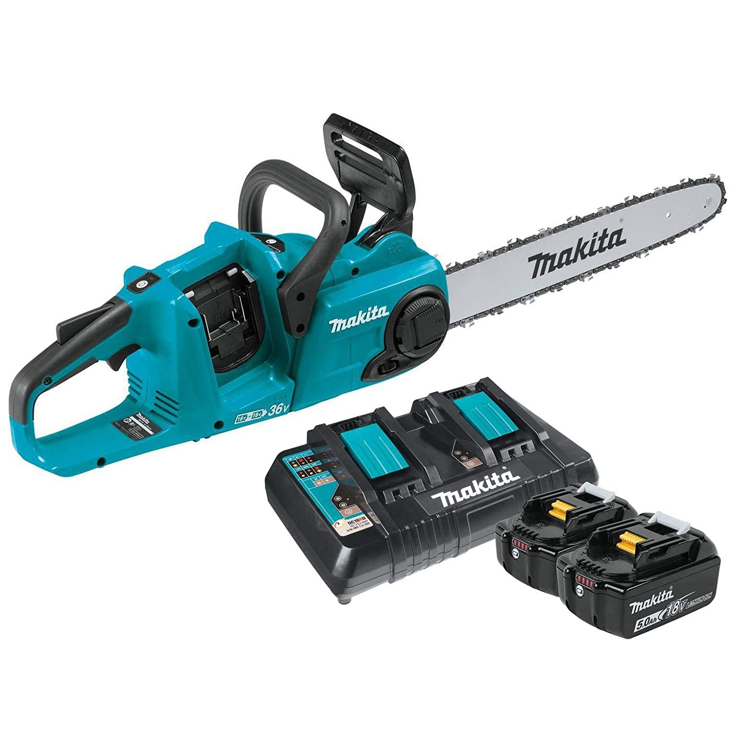 Makita 18V X2 Cordless 16-Inch Chainsaw with Batteries Charger