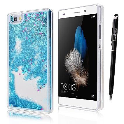 Funda para Huawei P8 Lite, Caja de plástico transparente para P8 Lite, SMART LEGEND Dual Layer 3D Líquido Glitter Glitter Shiny Gloss Sparkle Clear ...