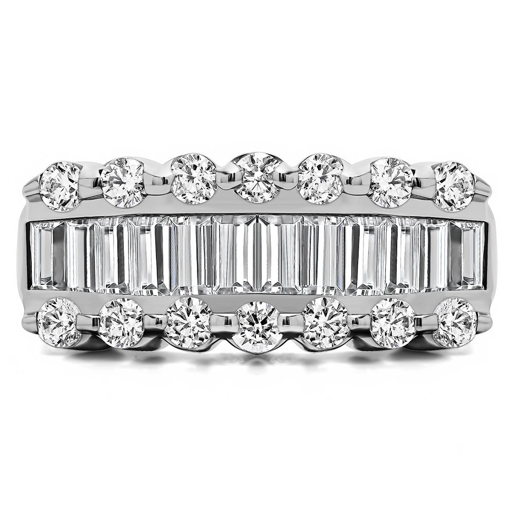 Size 3 to 15 in 1//4 Size Intervals TwoBirch 1.91Ct Baguette Round Wedding Band in Yellow Silver CZ