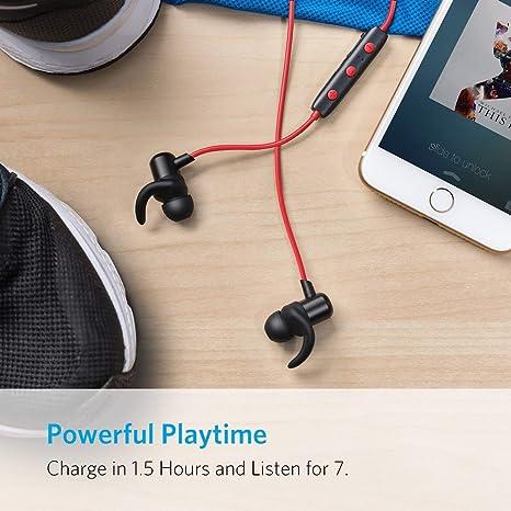 Anker SoundBuds Auriculares Bluetooth,Auriculares, Bluetooth 4.1 magnético con Funda Ligera, Resistente al Agua Auriculares Deporte, con micrófono, ...