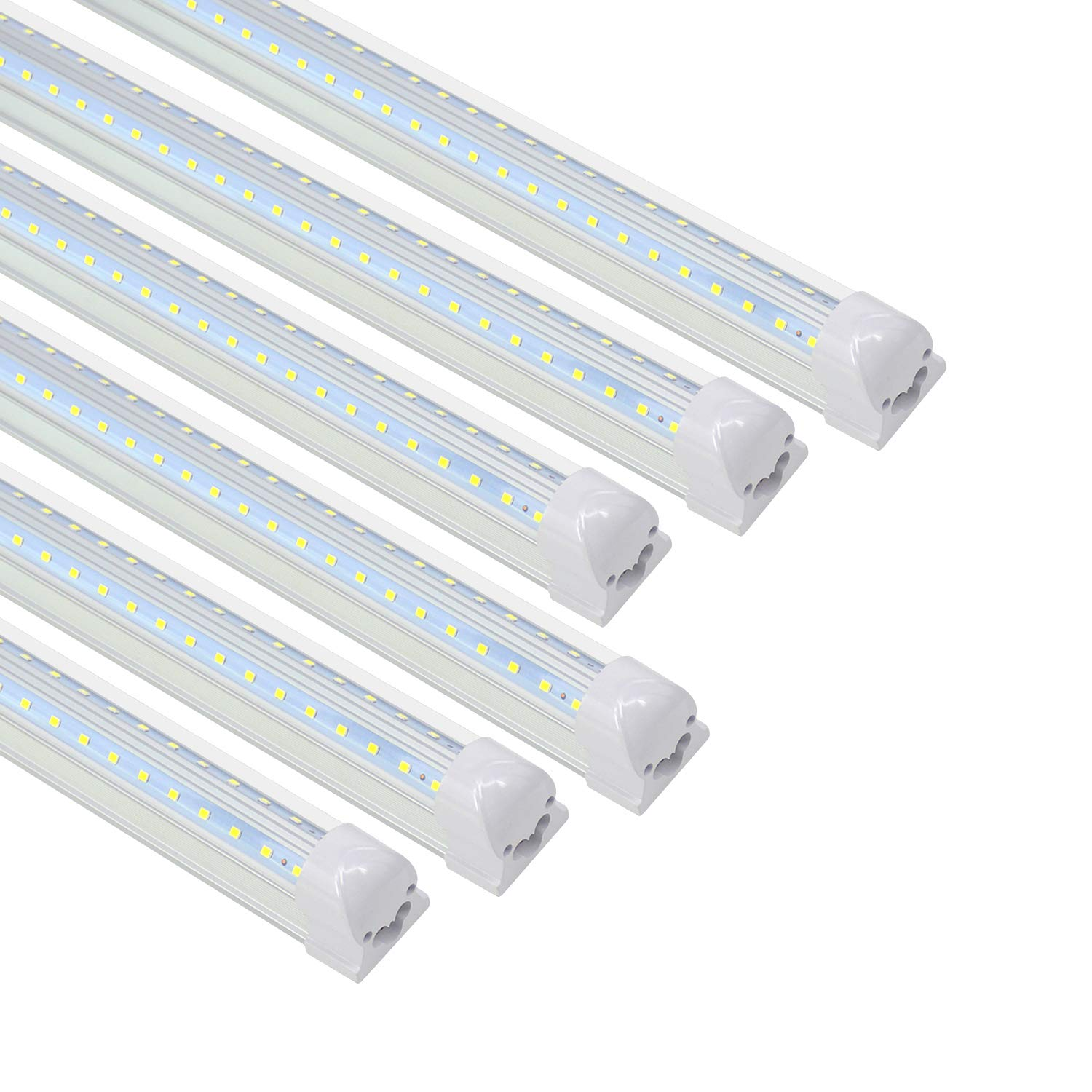 Cnsunway 4FT LED Shop Lights - V Shape T8 Integrated Tube Light Fixture, 5000K Daylight. 3360LM, 28W, LED Tube Light Replacement, Linkable Strip Ceiling Lights, Plug and Play, Clear, 6-Pack
