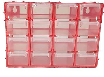 Organizador cajones con 16 compartimentos para taller, caja compartimentos clasificador, caja plástico para piezas pequeñas, anclaje para pared, caja organizadora compartimentos: Amazon.es: Bricolaje y herramientas