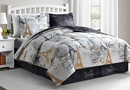 paris king size comforter set Amazon.com: Fairfield Square Collection Paris Gold 8 Pc King Size  paris king size comforter set