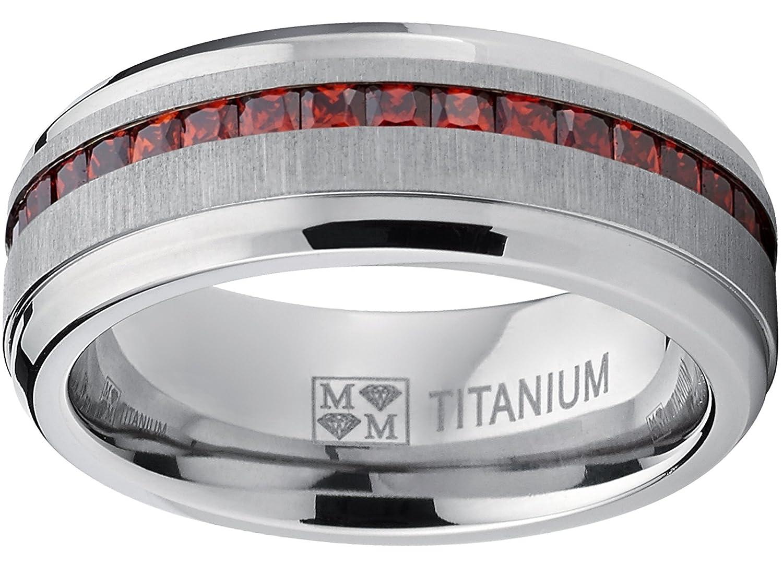 Mens Eternity Titanium Wedding Band Engagement Ring W//Red Simulated Garnet Cubic Zirconia Princess cut CZ