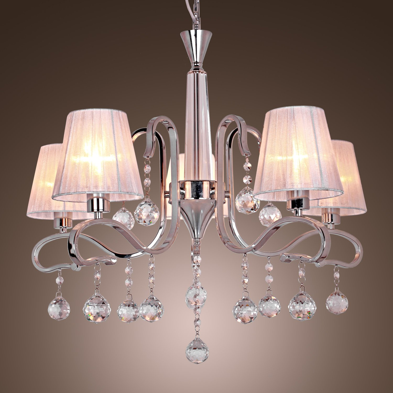 Modern Crystal Chandeliers With 5 Lights White Ceiling Light Fixture For Living Room Study Office