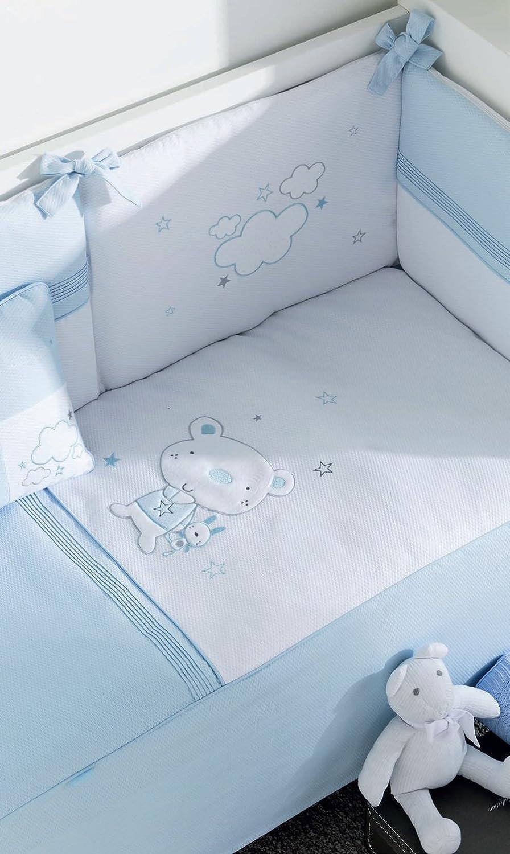 pirulos 21013014–Bettbezug, Displayschutzfolie und Kissen mit Motiv Bär Star, 62x 125cm, Farbe Weiß und Blau