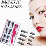 Upgraded Long Magnetic Eyelashes Plus Tweezers, Full Size and Half Size in One Set, 0.2mm Ultra Thin Magnetic False Eyelashes, 3D Reusable Fake Lashes, Natural Look