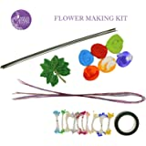 AsianHobbyCrafts Mini Flower Making Kit- Contents: Stocking, pearl shining pollens, velvet leaves, flexible wire, green floral tape, green tape wire