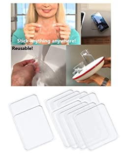 Universal Non-Slip mats, Sticky Anti-Slip Gel Pads, Stick to Car Golf Cart Boating Kitchen Cabinets etc, Holds Cell Phones Sunglasses Speakers etc. Easy Remove, Stick to Anywhere&Holds Anything 10pcs