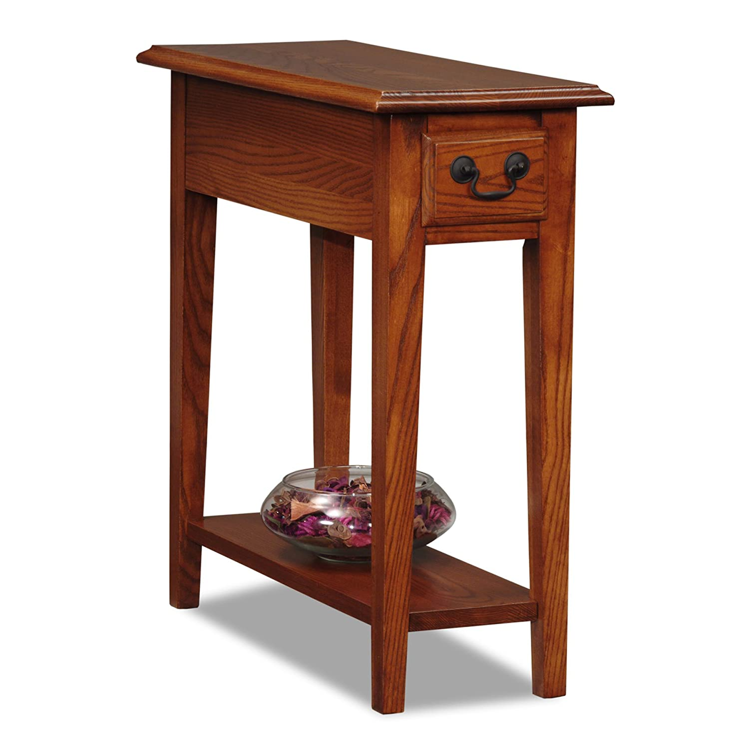 Chair side end table ash wood oak finish narrow style