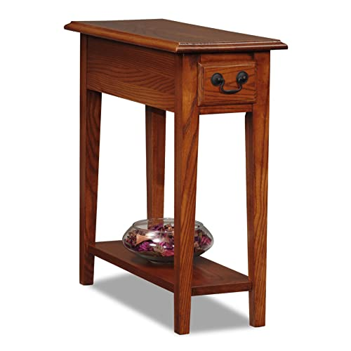 Leick Solid Wood Side End Table with Storage Drawer and Shelf, Small, Narrow, Accent Table, Hand Applied Rustic Oak Finish