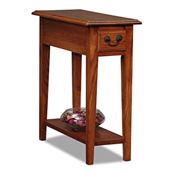 Superb Leick Chair Side End Table, Medium Oak Finish