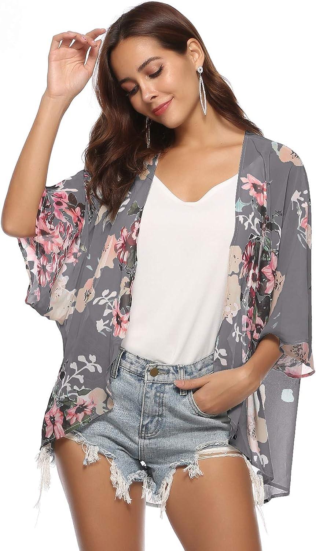 New Women Ladies Summer Open front Floral Multi Print mono Kimono Jacket