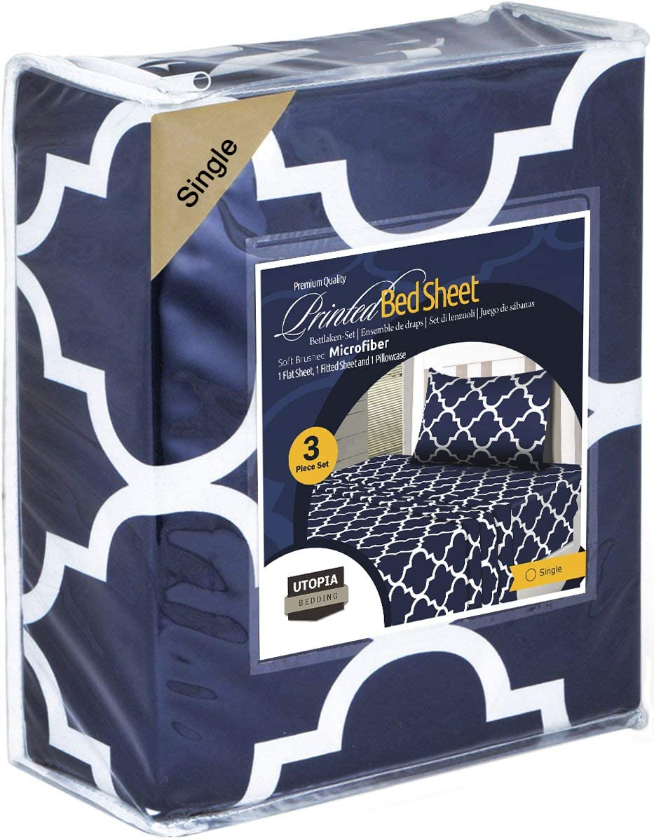Utopia Bedding 4 Piece Printed Bed Sheet Set Wrinkle Fitted Sheet with 2 Pillowcases Easy Care Soft Brushed Microfibre Fabric Shrinkage and Fade Resistant Double, Navy Blue Flat Sheet