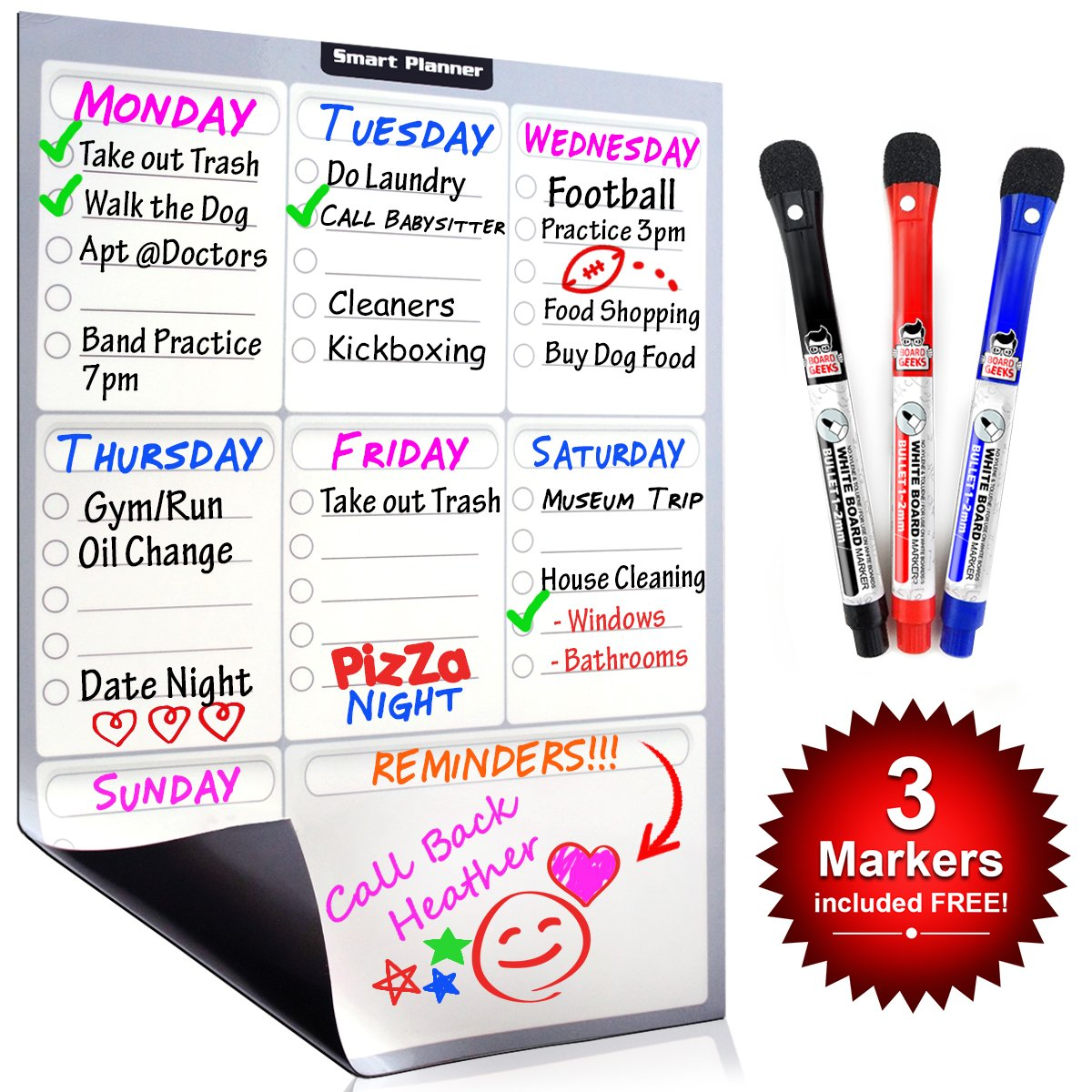 Smart Planner Weekly Multi-Purpose Magnetic Refrigerator Dry Erase Board with 3 Magnetic Dry Erase Markers