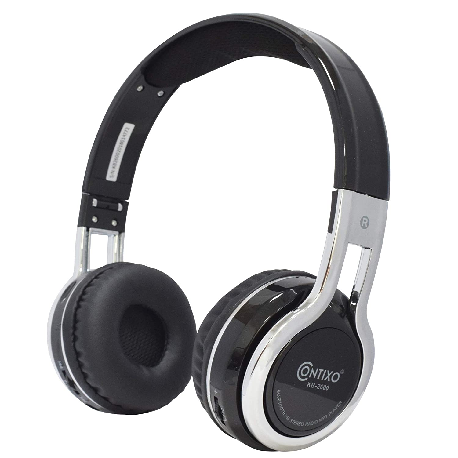 Contixo KB2600 Kids Over The Ear Foldable Bluetooth Headphones Kids Safe 85dB with Volume Limiter, Built-in Microphone, Micro SD Card Slot, FM Stereo Radio, Phone Controls(Black)