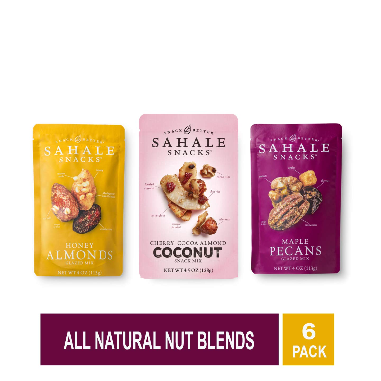 Sahale Snacks, Nut Snacks in a Resealable Pouch Variety of 3 Flavors ( Maple Pecans, Cherry Cocoa Coconut, Honey Almonds Glazed ) Pack of 6