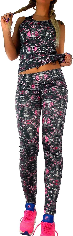 2 Pezzi Completo Sportivo da Donna per Il Tempo Libero Completo Sportivo Top Top Leggings per Pantaloni Fantasia Neon Rosa o Giallo Neon