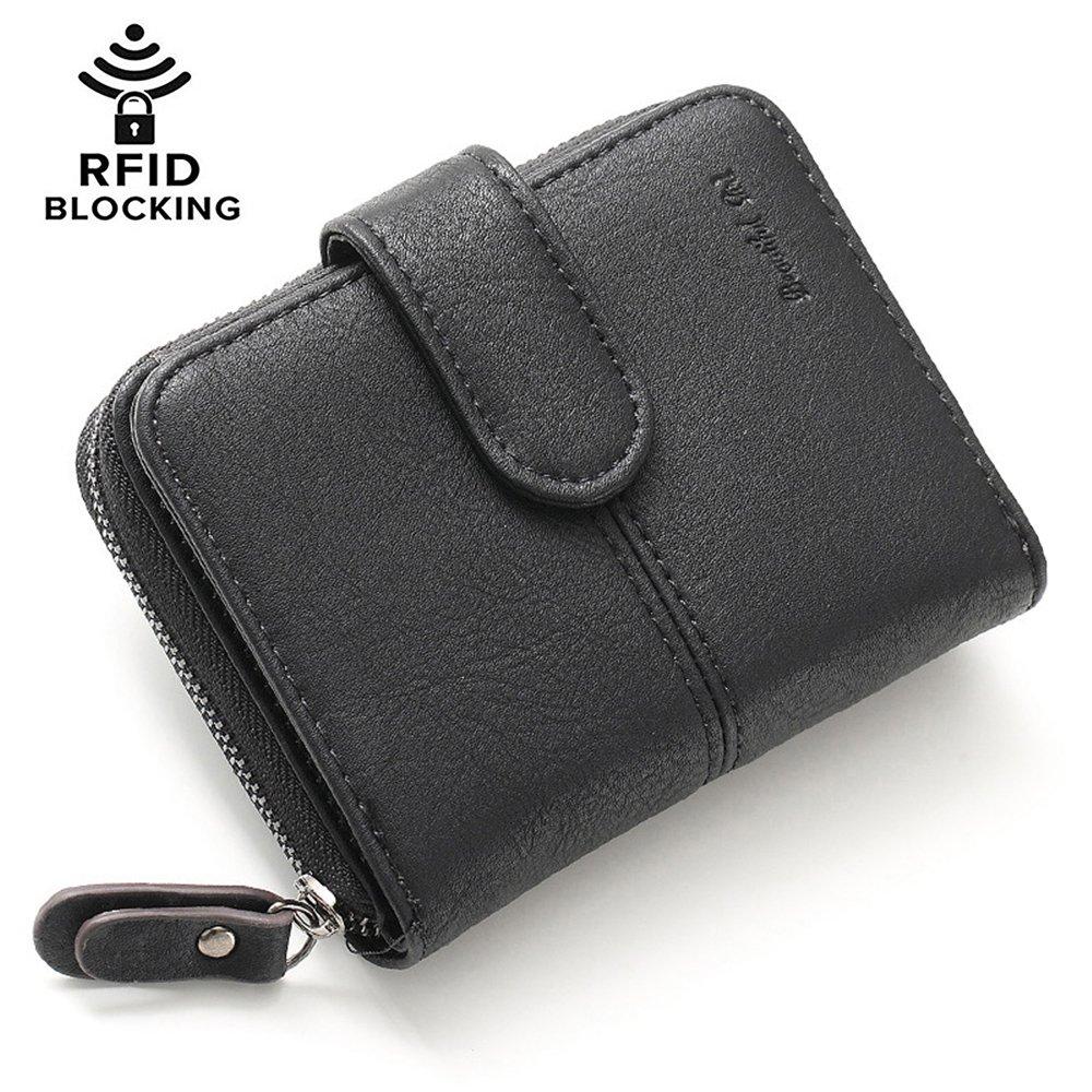 Womens Girls PU Leather Wallet Short Clutch Card Holder Cute Change Zipper Ladies Travel Mini Coin Purse (#4-Black)