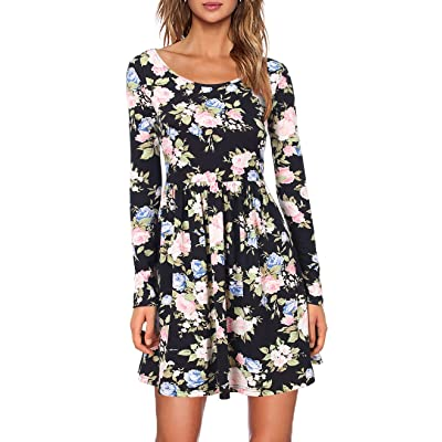 1eba72e4277a MOONSUNGEEK Women's Long Sleeve Floral Print Pleated Swing Dress ...