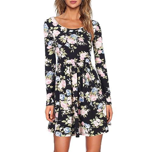 Faddare Womens Long Sleeve Floral Print Pleated Swing Dress
