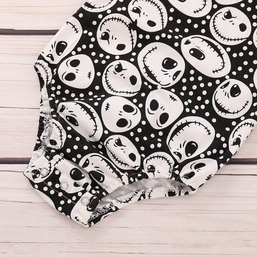 KaiCran Baby Cotton Bodysuit Sets,Newborn Baby Girls Long Sleeve Skull Print Romper+Pants Halloween Outfits Clothes