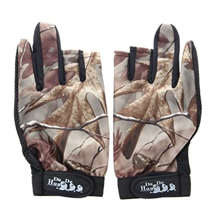 3 Shorter Finger Waterproof Fishing Gloves Hunting Anti-Slip Mitts Shooting Angelsport