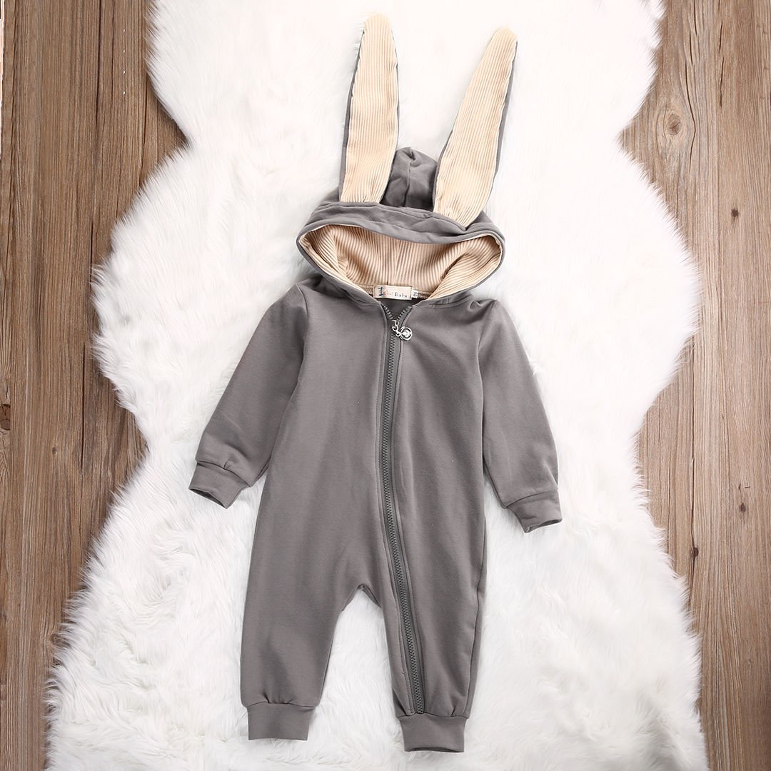 3ea4ff664 Amazon.com  ONE S Baby Girls Boys 3D Bunny Ear Romper Long Sleeve ...