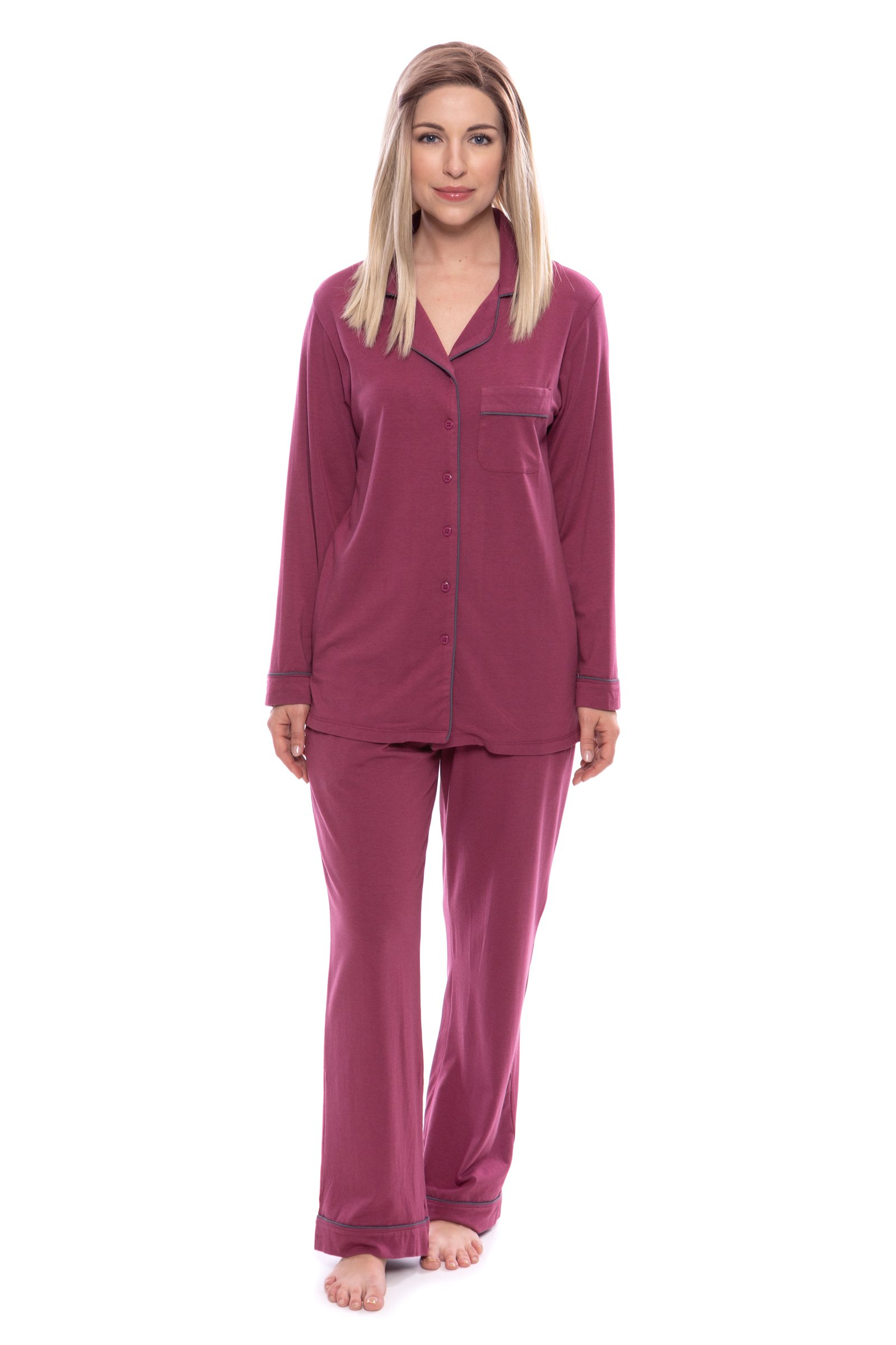 Women's Button-Up Long Sleeve Pajamas - Sleepwear set by Texere (Classicomfort, Garnet, Medium/Petite) Romantic Gifts for Her WB0004-GNT-MP