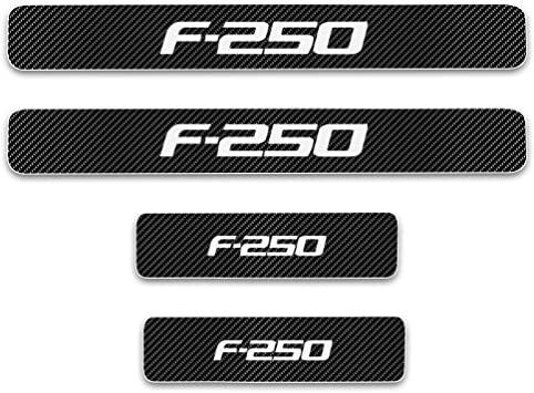 for Ford F250 Door Sill Protector Reflective 4D Carbon Fiber Sticker Door Entry Guard Door Sill Scuff Plate Stickers Auto Accessories 4Pcs Red