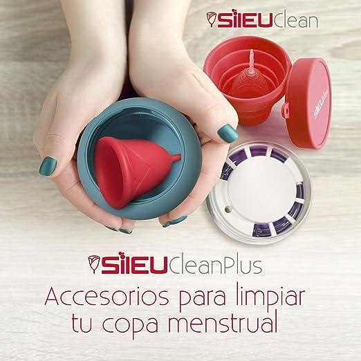Pack Sileu Travel: Copa menstrual Rose - Modelo de iniciación - Talla XS, Rojo, Flexibilidad Standard + Estuche de Flor Rojo + Esterilizador Plegable, ...