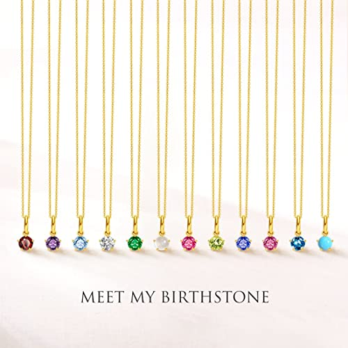 Carleen Solid 18K Yellow Gold Solitaire Genuine Gemstone Delicate Dainty Birthstone Necklace Pendant Fine Jewelry Birthday Gifts for Women Girls, 18 inch