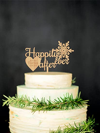 Amazon.com: Happily Ever After Snowflake Cake Topper Personalized ...