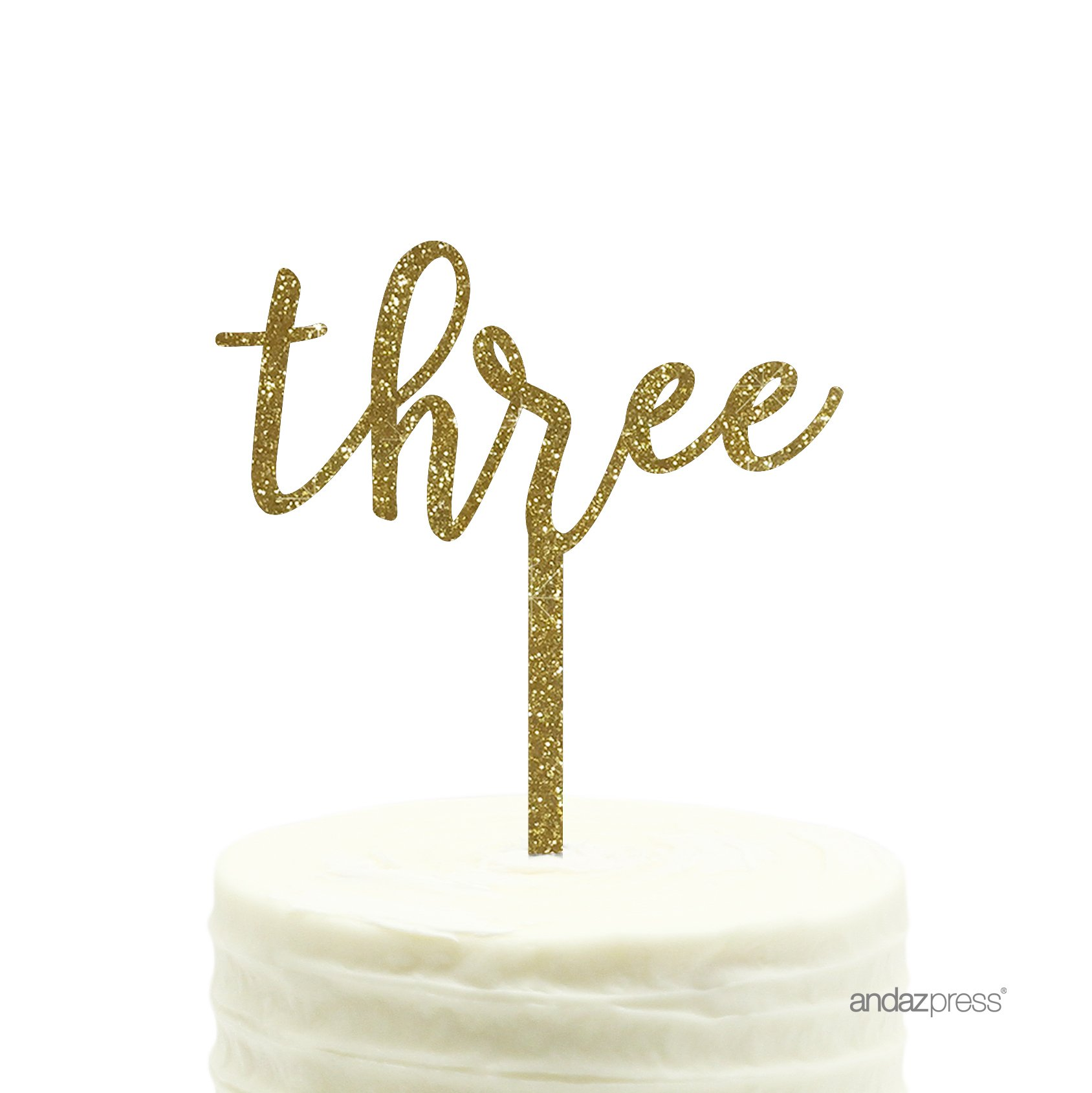 Andaz Press Birthday and Anniversary Acrylic Cake Toppers, Gold Glitter, Three, 1-Pack
