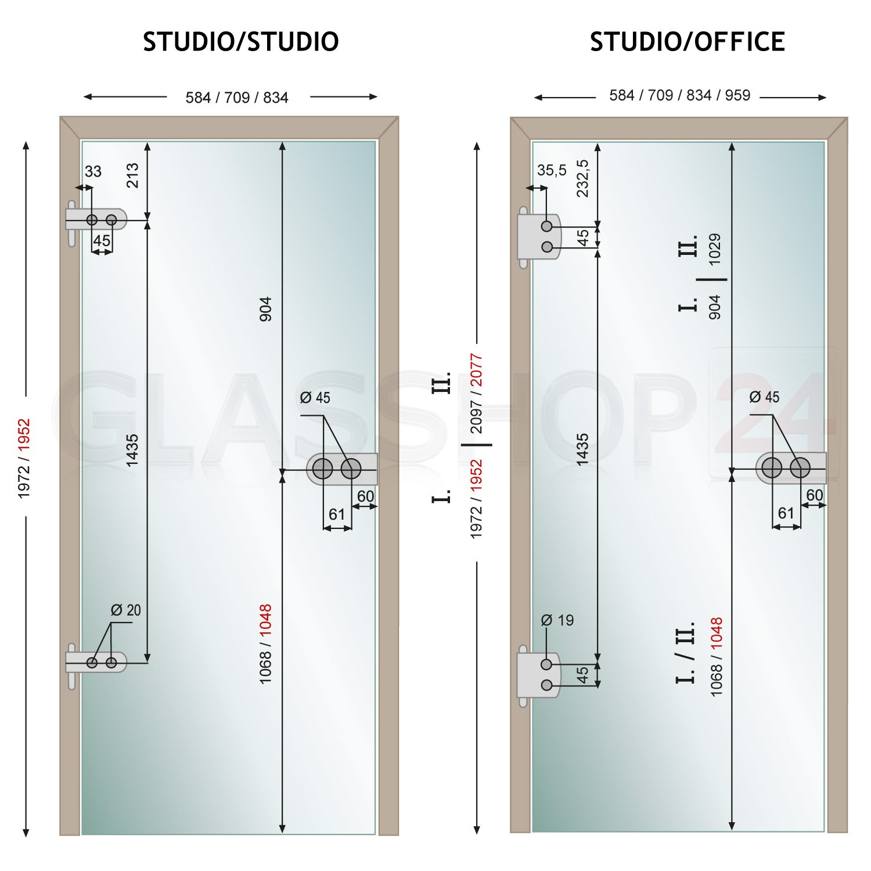 834x1952mm DIN Links Sonderma/ß: 2 cm gek/ürzt Studio//Studio bijon/® Glast/ür T5