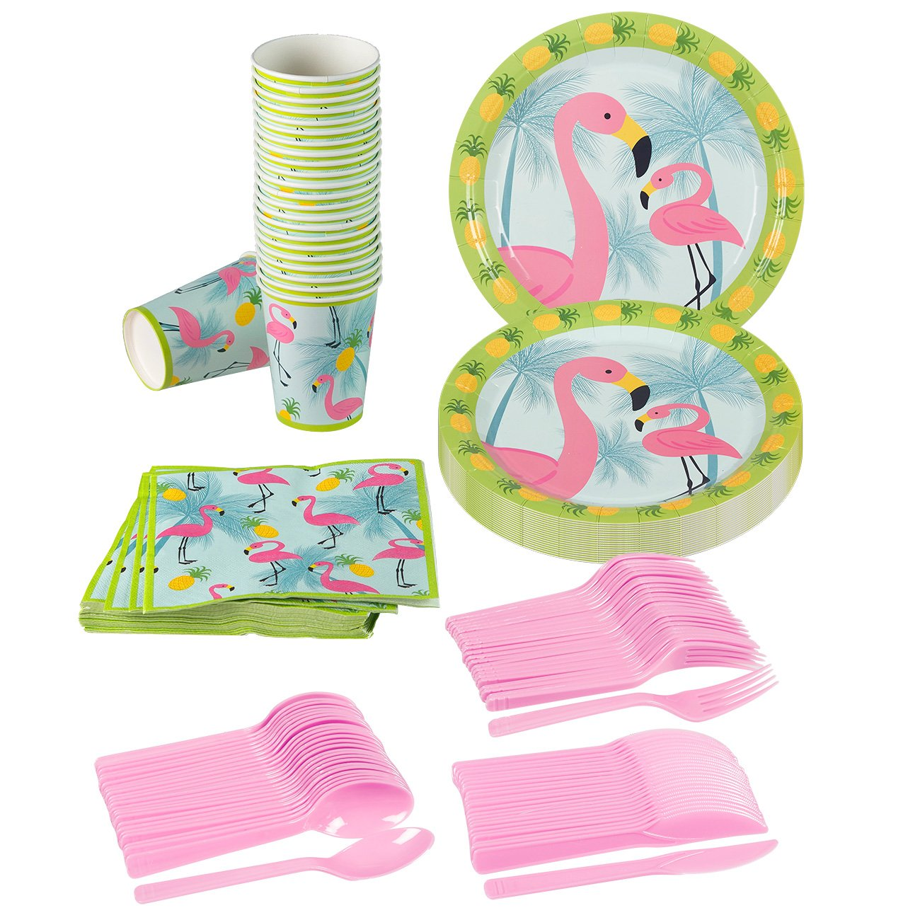 Juvale Flamingo Party Supplies – Serves 24 – Includes Plates, Knives, Spoons, Forks, Cups and Napkins. Perfect Tropical Birthday Party Pack for Kids Flamingo Themed Parties. by Juvale