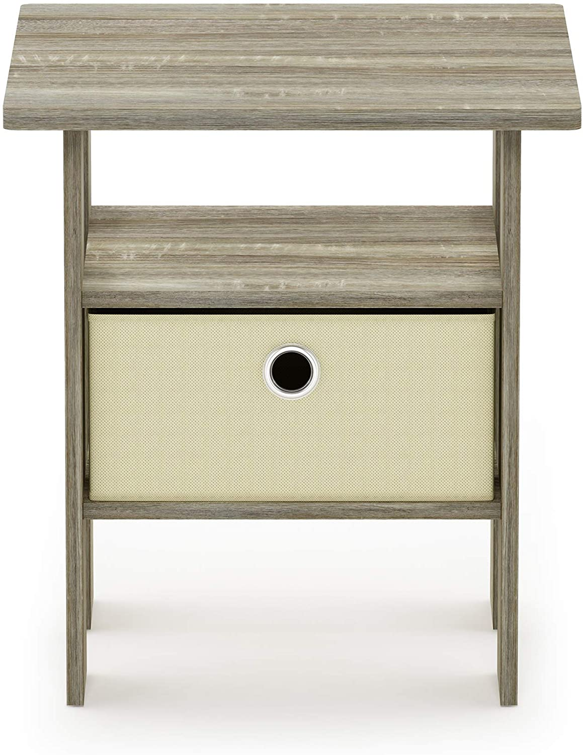 FURINNO Andrey End Table Nightstand with Bin Drawer, 1-Pack, Sonoma Oak/Ivory: Kitchen & Dining