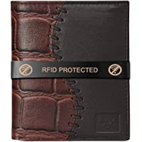 AL FASCINO Brown and Black Leather Wallet/Purse for Men