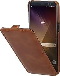 StilGut UltraSlim, Housse Samsung Galaxy S8 en Cuir. Etui de Protection à Ouverture Verticale et Fermeture clipsée en Cuir véritable, Cognac