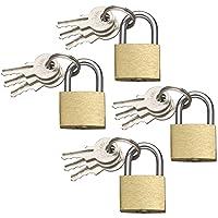 com-four® 4X Candado de latón - Candado de 3 Llaves - Cerradura pequeña para Equipaje y Maletas de Viaje