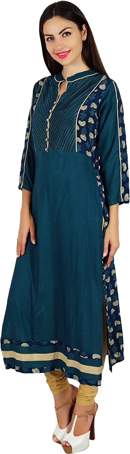 Bimba Women Indian Designer Kurta Kurti Boho Collar Neck Custom Blouse