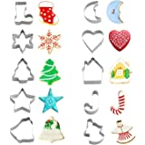Christmas Cookie Cutters Set - Holiday Mini Cookie Cutter set of 10, Include: Gingerbread Man, Gingerbread House, Christmas Tree, Snowflake, Bell, Heart, Star, Christmas Crutch