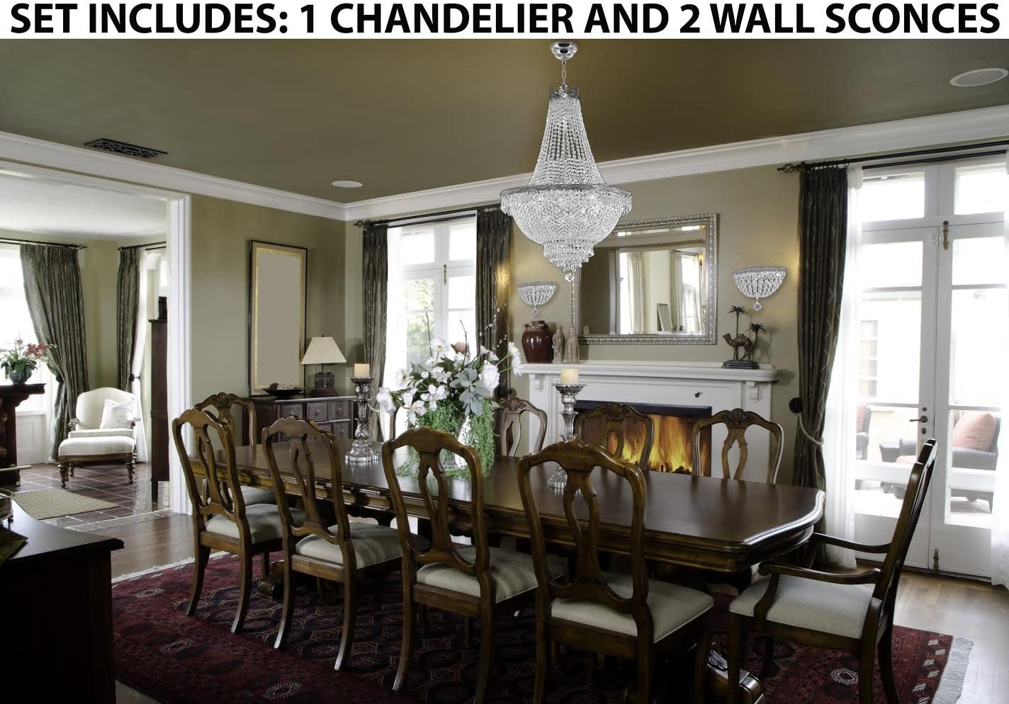 Set of 3-1 French Empire Crystal Chandelier Lighting H30 X W24 and 2 Empire Crystal Wall Sconce Lighting W 9.5 H 9 D 5