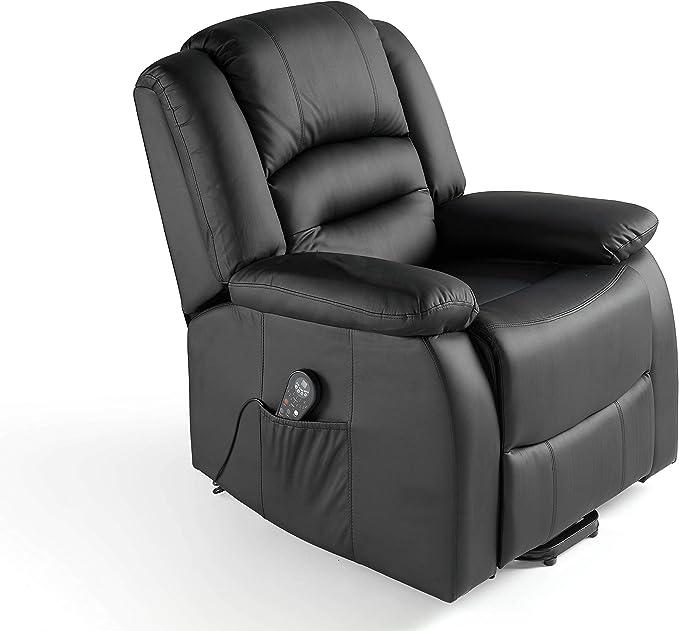 ECODE Sillón Masaje Relax Maximum 9 programas con Calor Lumbar,reclinación manual ECO-8198 Color negro