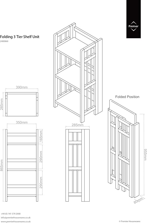 3 Livelli Premier Housewares PREM-2400860 Scaffale Pieghevole Legno 47x31x102 cm Naturale