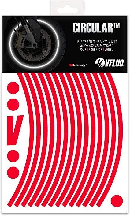 Rouge Liseret Jante Autocollant Réfléchissant Stripes Stickers Pneu Moto Vélo