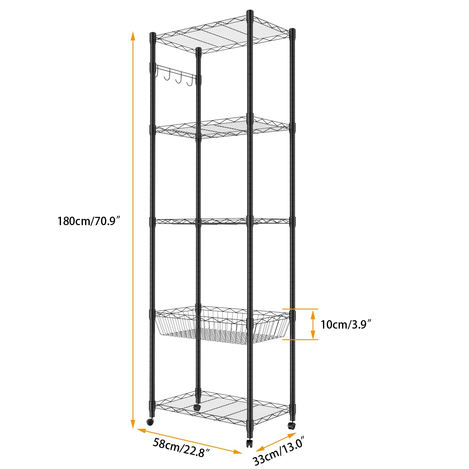 5 Tier Steel Wire Shelving with Wheels, Shelving Storage Organizer Rack for Kitchen Bathroom Balcony Living Room 71inch - Black [US STOCK] by ferty (Image #7)